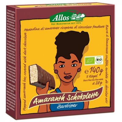 ALLOS Baton Amarantusowy w gorzkiej czekoladzie BIO 140g (5 sztuk)